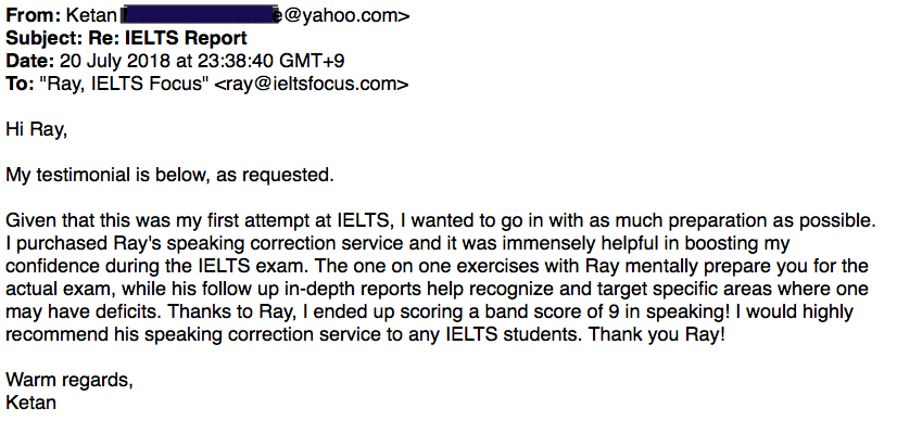ielts testimonial speaking